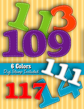 Numbers 100-120 • 6 Bright Color Sets • PDFs and PNGs • 30
