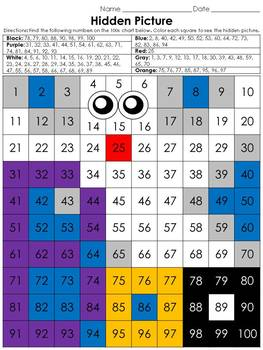 Numbers: 100s Chart Hidden Picture Activity - Halloween Gh