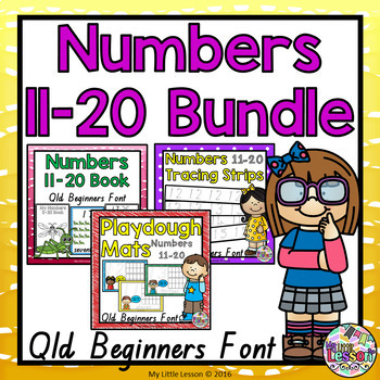 Numbers 11-20 Bundle Qld Beginners Font: Worksheets, Poste