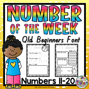 Numbers 11-20 Worksheets: QLD Beginners Font