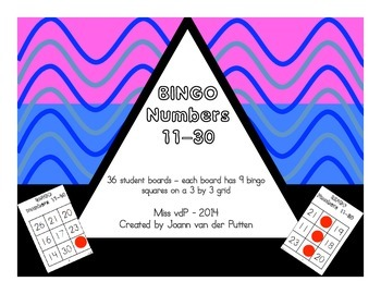 Numbers 11-30 Bingo Game