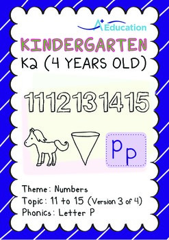Numbers - 11 to 15 (III): Letter P - K2 (4 years old), Kin