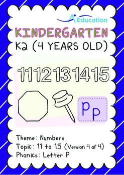 Numbers - 11 to 15 (IV): Letter P - K2 (4 years old), Kind