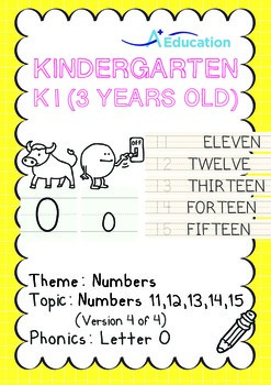 Numbers - 11,12,13,14,15 (IV): Letter O - K1 (3 years old)