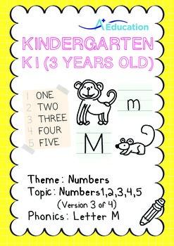 Numbers - 1,2,3,4,5 (III): Letter M - K1 (3 years old), Ki