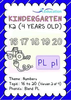 Numbers - 16 to 20 (II): Blend PL - K2 (4 years old), Kind