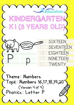 Numbers - 16,17,18,19,20 (IV): Letter P - K1 (3 years old)