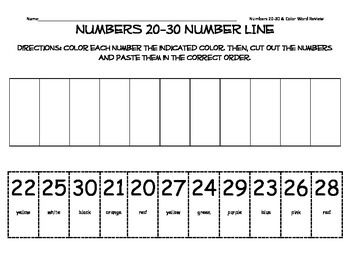 Numbers 20-30 Number Line Cut and Paste