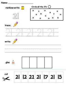 Numbers 21-30 printable worksheets -find,... by Klever ...