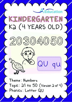 Numbers - 21 to 50 (II): Letter Qu - K2 (4 years old), Kin