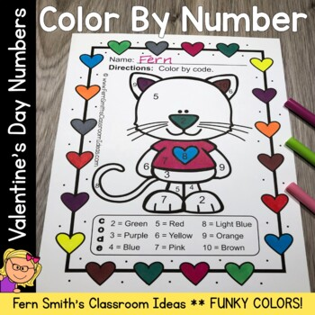 Color By Number St Valentine's Day Funky Valentines Know Y