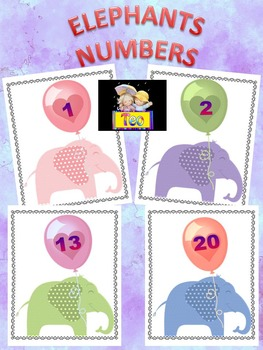 Number Cards - Elephants - Clip Art - Back to School Activity