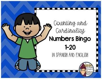 Numbers Bingo 0-20 in English and Spanish