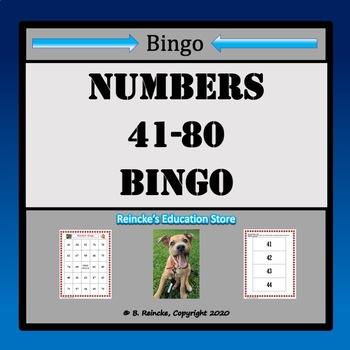 Numbers Bingo 41-80 (29 pre-made boards!)