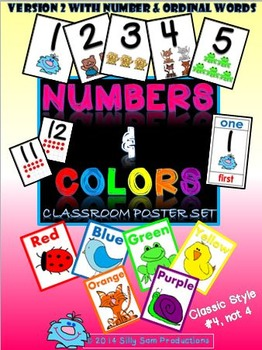 Numbers & Colors Classroom Posters & Bookmarks VERSION 2 w