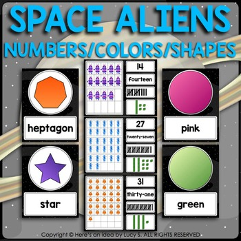 Numbers, Colors, Shapes - Space Aliens Classroom Decor Theme