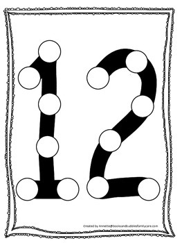 "Numbers Do a Dot number ""12"". Printable preschool daycare"