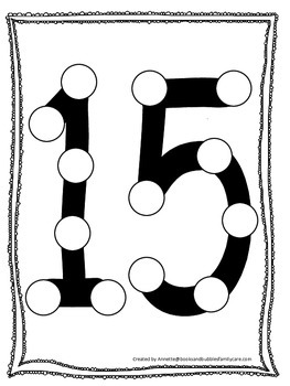 """Numbers Do a Dot number """"15"""". Printable preschool daycare"""