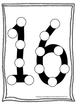 "Numbers Do a Dot number ""16"". Printable preschool daycare"