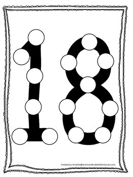 """Numbers Do a Dot number """"18"""". Printable preschool daycare"""