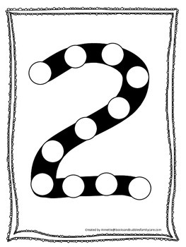 """Numbers Do a Dot number """"2"""". Printable preschool daycare w"""