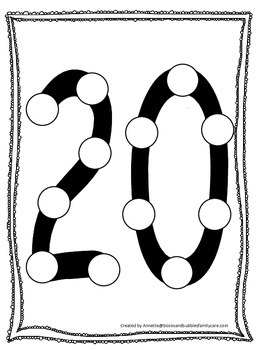 """Numbers Do a Dot number """"20"""". Printable preschool daycare"""