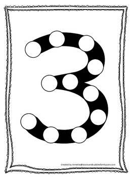 "Numbers Do a Dot number ""3"". Printable preschool daycare w"