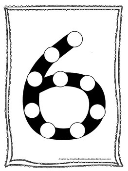 """Numbers Do a Dot number """"6"""". Printable preschool daycare w"""