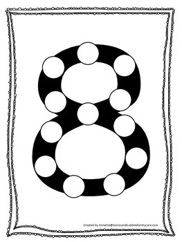 "Numbers Do a Dot number ""8"". Printable preschool daycare w"