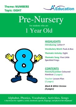 Numbers - Eight : Letter P : Peek-A-Boo - Pre-Nursery (1 y