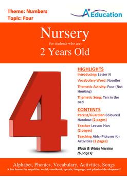 Numbers - Four : Letter N : Noodles - Nursery (2 years old)