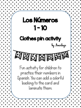 Numbers ~ Los numeros clothes pin activity FREEBIE