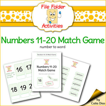 Numbers Match 11-20 FILE FOLDER ACTIVITIES