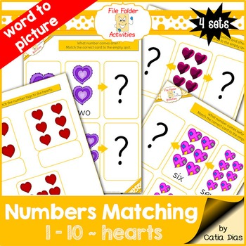 Numbers Matching 1-10 - hearts FILE FOLDER ACTIVITIES