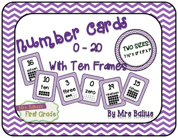 Numbers Mini-Posters with Ten Frames {Purple Chevron}