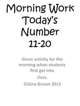 Numbers Morning Work 11-20