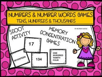 Numbers & Number Words Games, Tens, Hundreds & Thousands