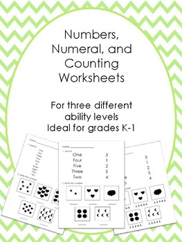 Numbers, Numerals, and Counting Ability Leveled Worksheets