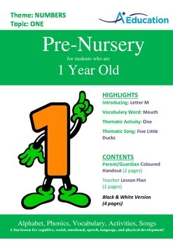 Numbers - One : Letter M : Mouth - Pre-Nursery (1 year old)