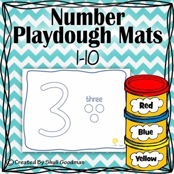 Numbers Play dough Mats - Blue