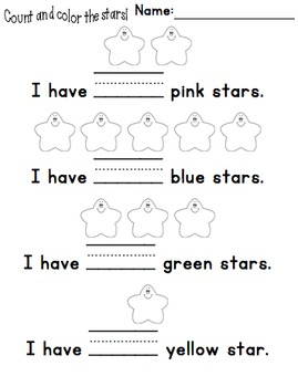 Numbers Practice, Color & Count the Stars