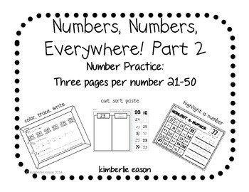 Numbers Practice Part 2 for Kindergarten, First Grade or P