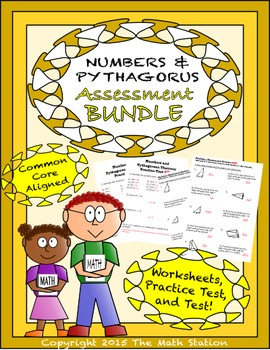 Numbers & Pythagorean Theorem Worksheets & Test - 8th Grade