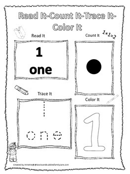 Numbers Read, Count, Trace, Color the number 1.  Preschool