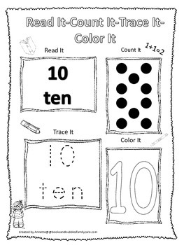 Numbers Read, Count, Trace, Color the number 10.  Preschoo
