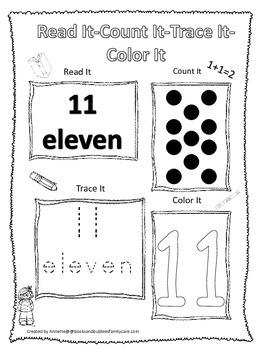 Numbers Read, Count, Trace, Color the number 11.  Preschoo