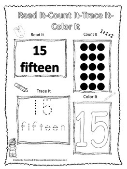 Numbers Read, Count, Trace, Color the number 15.  Preschoo