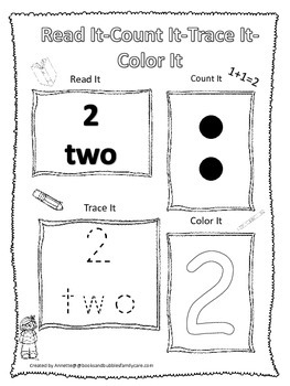 Numbers Read, Count, Trace, Color the number 2.  Preschool