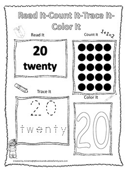 Numbers Read, Count, Trace, Color the number 20.  Preschoo