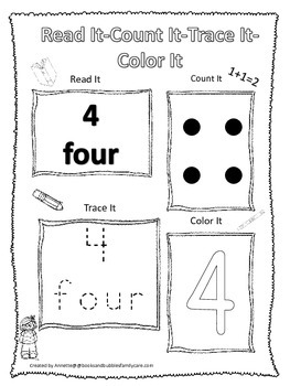 Numbers Read, Count, Trace, Color the number 4.  Preschool